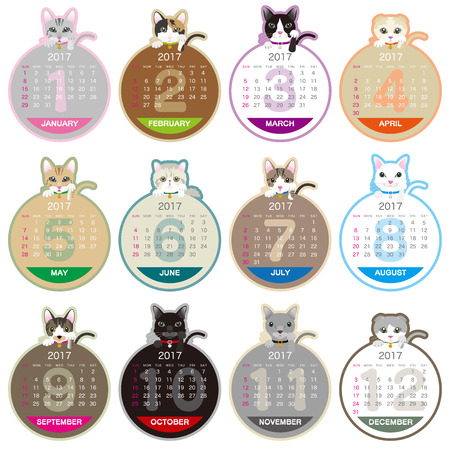 2017 year cat illustration calendar