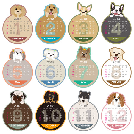 2018 year dog illustration calendar
