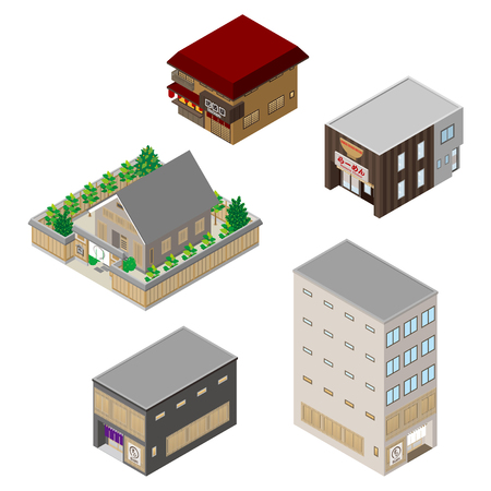 real estate house: Various building and Solid figure