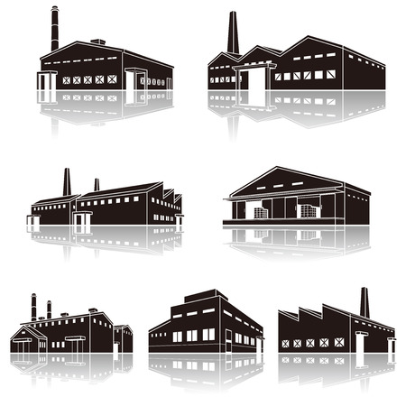 Illustratie van de schaduw van de fabriek, Solid cijfer Stock Illustratie