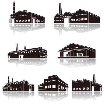 Illustration der Schatten der Fabrik, Massiv Figur Standard-Bild - 70951152