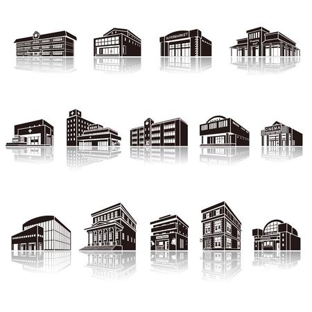 工場、立体図形の影の図  イラスト・ベクター素材