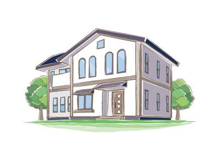 Illustration of handwritten style house