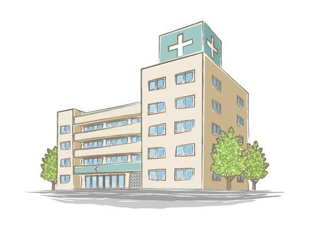 Illustration of handwritten style hospital