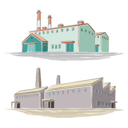 Illustration of handwritten style factory