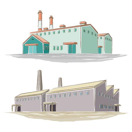 Ilustración de la fábrica de estilo manuscrita