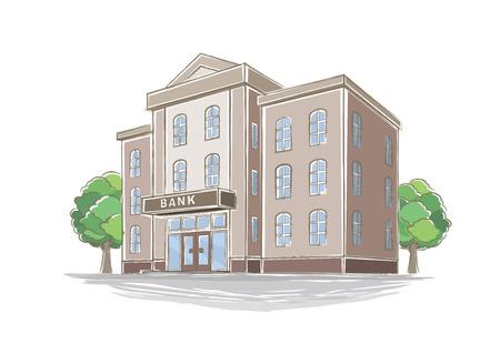 Illustrazione della banca di stile a mano