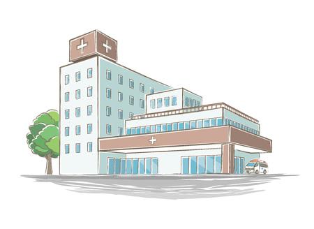 Ilustración de un hospital estilo manuscrita