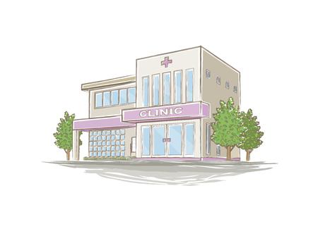 Illustrazione di ospedale di stile a mano Archivio Fotografico - 73852161