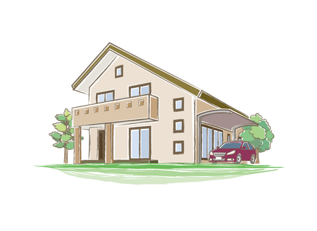 home icon: Illustration of handwritten style house