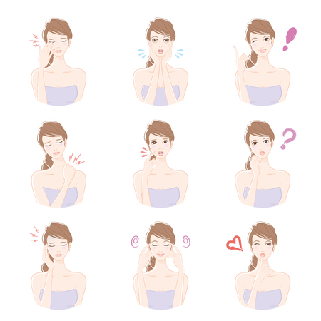 beauty smile: Various facial expressions of women Illustration