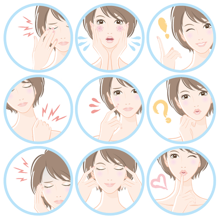 rash: Various facial expressions of women Illustration