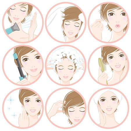 Vrouwen die haarverzorging doen