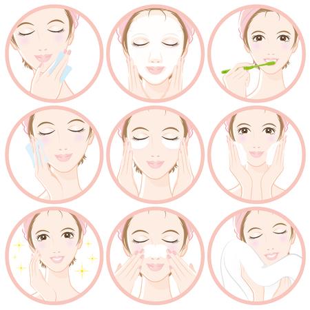피부 관리를 할 여성