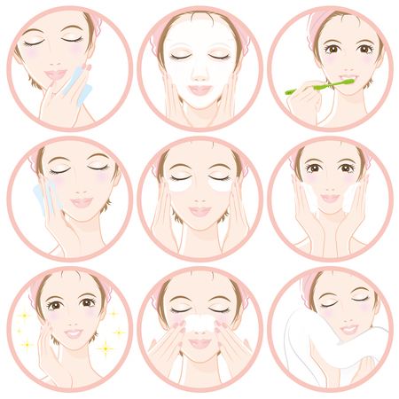 Donne che fanno la cura della pelle Vettoriali