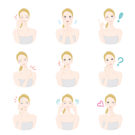 suspicion: Various facial expressions of women Illustration