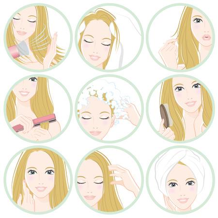 human face: Women who do hair care