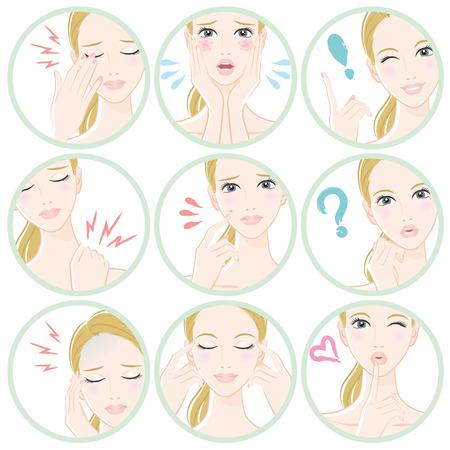 女性の様々 な表情