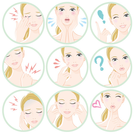 Various facial expressions of women Illustration