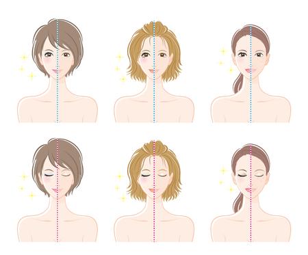 Women, Before makeup and after makeup. Illustration