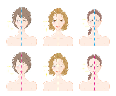 wrinkly: Women, Before makeup and after makeup. Illustration