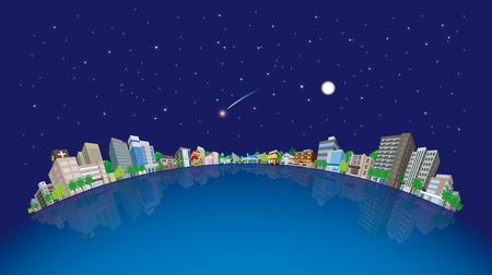 post office building: Cityscape Vector Illustration, Night sky Illustration