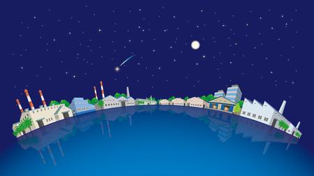 Industrial area, night sky