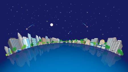 post office building: Cityscape Vector Illustration, night sky