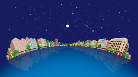 Cityscape Vector Illustration, Night sky Illustration