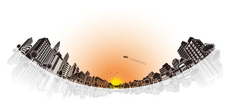 solid: Cityscape Vector Illustration Illustration