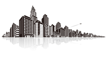 cityscape vector illustration royalty free cliparts vectors and rh 123rf com cityscape vector free Black and White Cityscape Vector