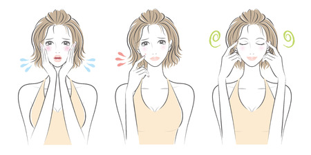 eyes are closed: Expression of the woman illustration.