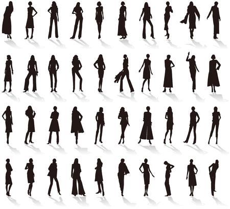 Silhouette of Womens fashion. Çizim