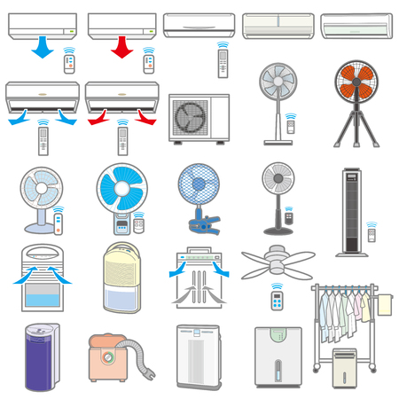 Illustration of various electric appliances / Summer  イラスト・ベクター素材