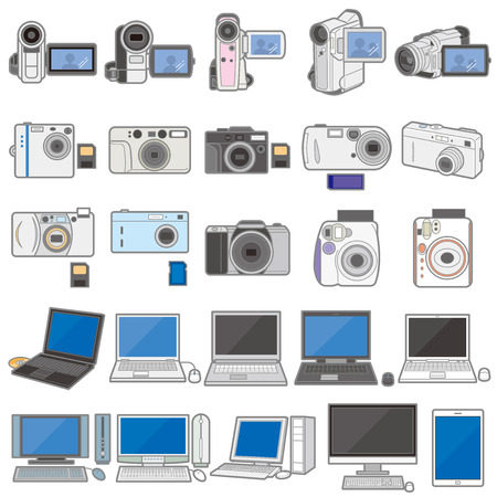 Illustration of various electric appliances  PC & Camera