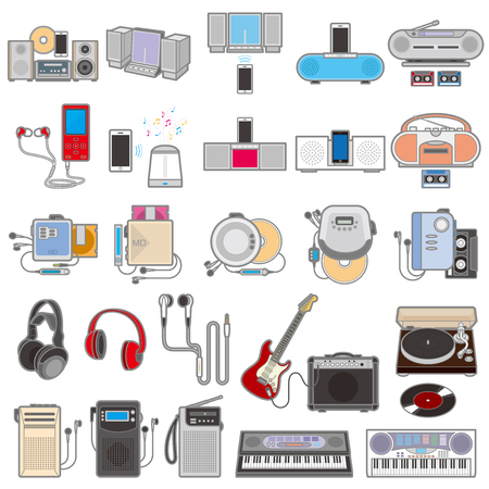 Illustration of various electric appliances  Musics