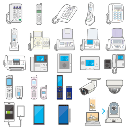 Illustration of various electric appliances and Communication equipment???