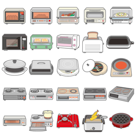 Illustration of various electric appliances  Kitchen Ilustração