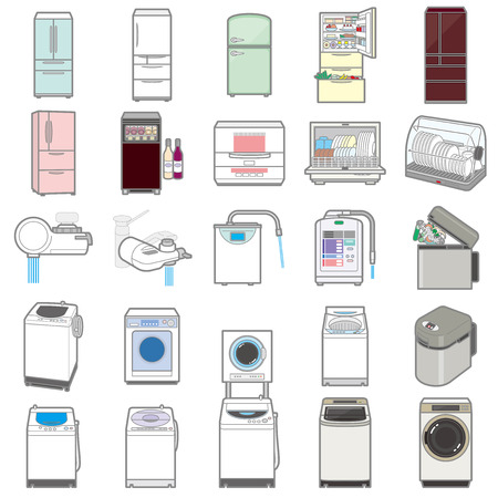 Illustration of various electric appliances / Life