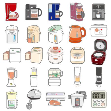 各種電化製品・台所用品のイラスト