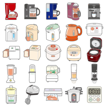 Illustration of various electric appliances and Kitchenware