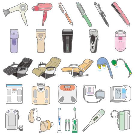 illustration de divers appareils électriques / santé