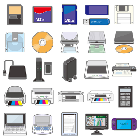 Illustration of various electric appliances / Storage media