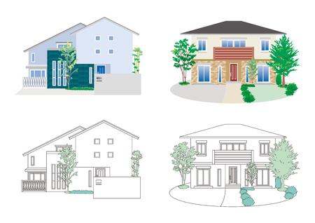 Illustratie van verschillende huizen.