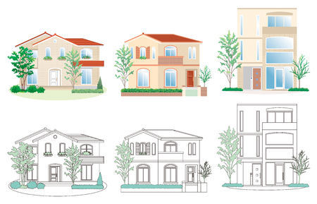 Illustration of different houses.