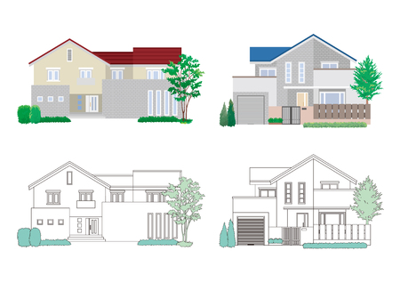 Illustration of four houses on white background.