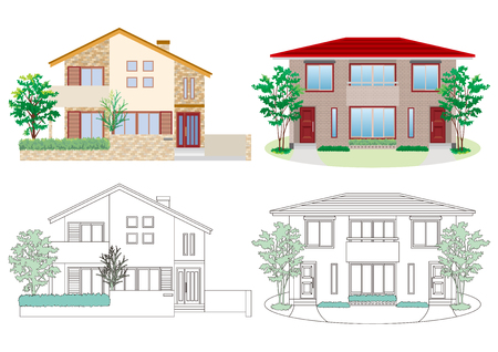 Illustration von vier Häusern auf weißem Hintergrund Standard-Bild - 93158756