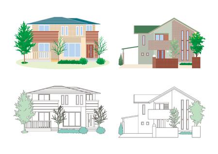 Illustration of four houses on white background.