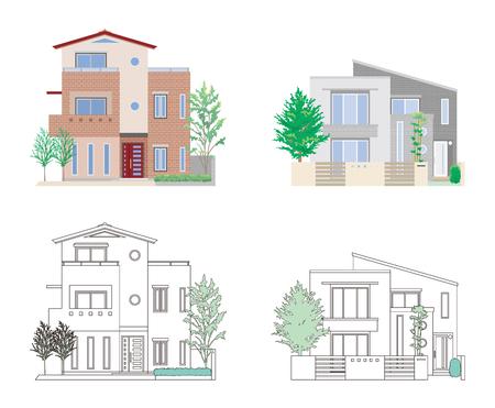 Illustratie van vier huizen op witte achtergrond. Stock Illustratie