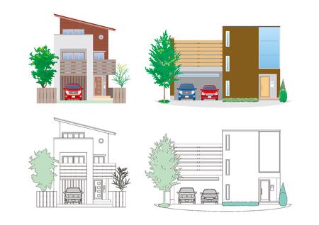 Illustration of the house on white presentation.
